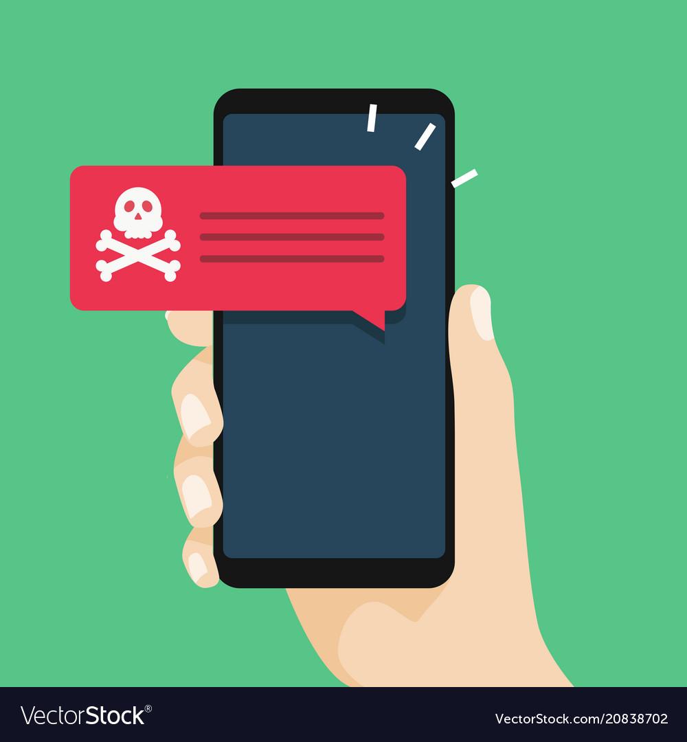 Malware notification on smartphone vector image