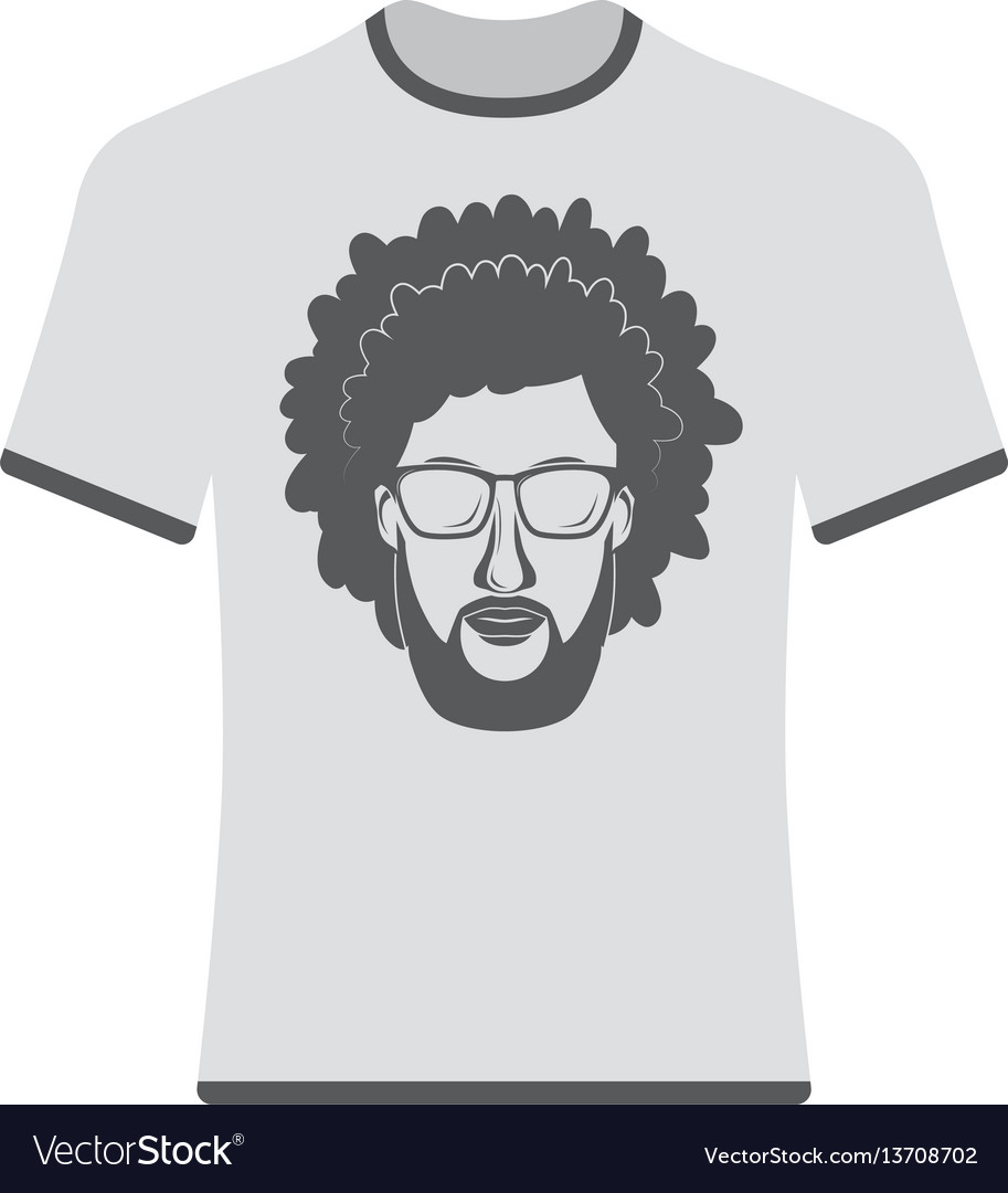 Prints t-shirts with the image of hipsters