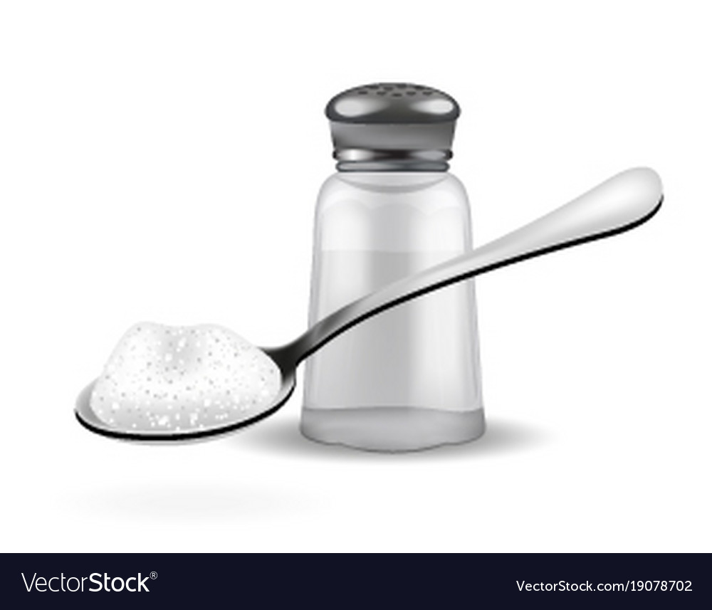 Realistic 3d salt shaker and spoon with salt vector image