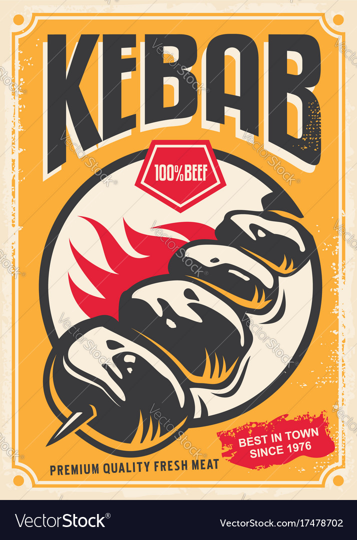 Retro poster design with hot tasty kebab