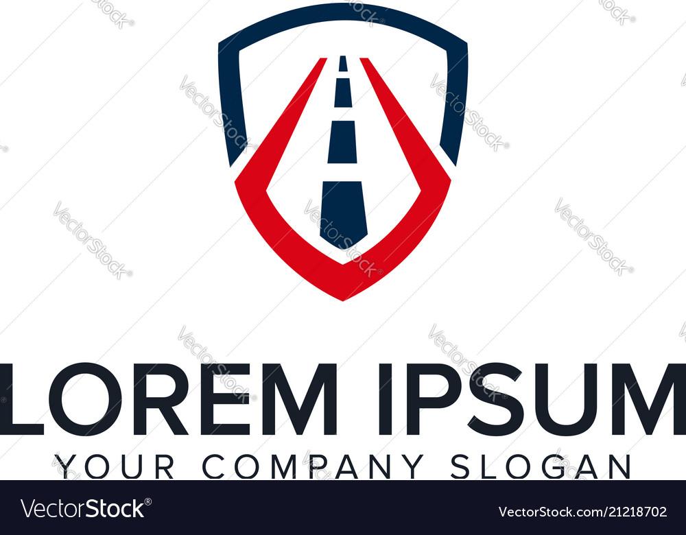 Road shield logo design concept template
