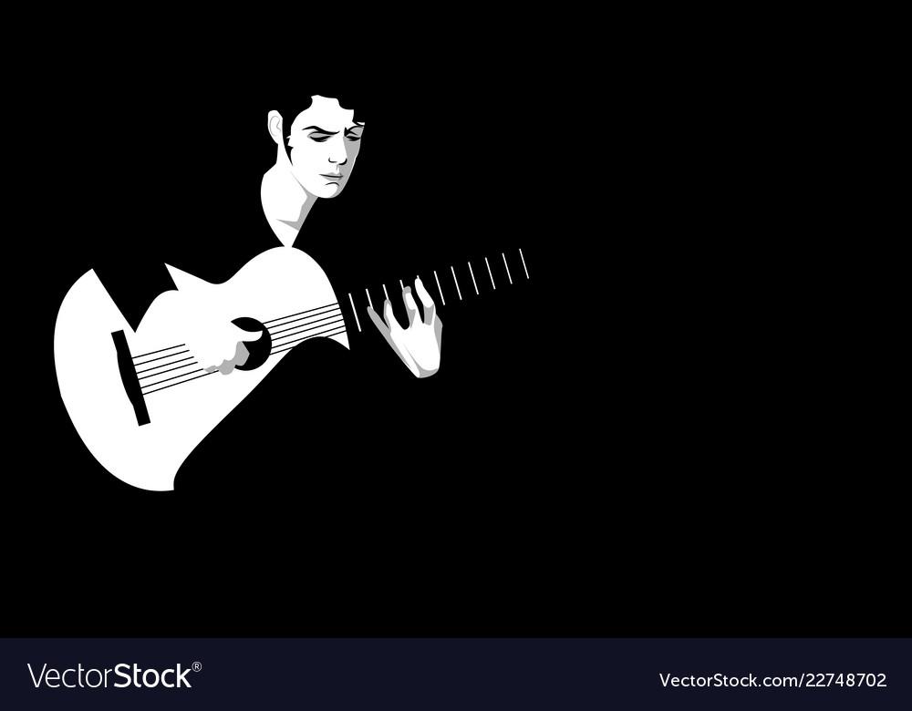 Spanish guitarist playing flamenco on black