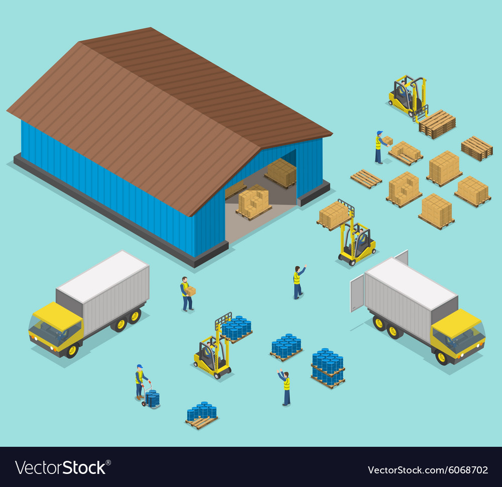 Warehouse isometric flat vector image