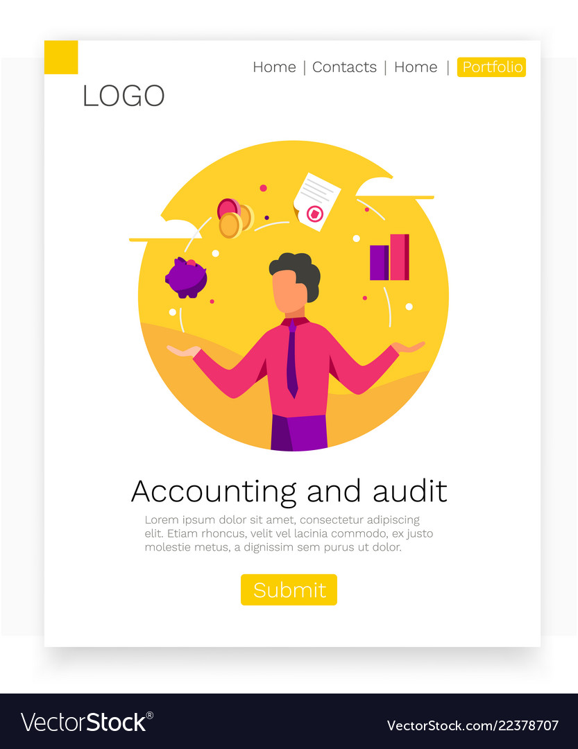 Accounting and audit web design concept modern