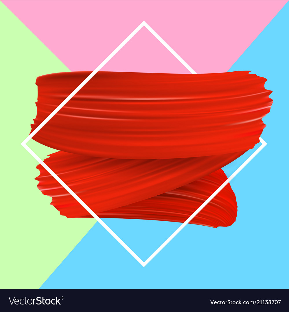 Background With Red Paint Brush Strokes Vector Image
