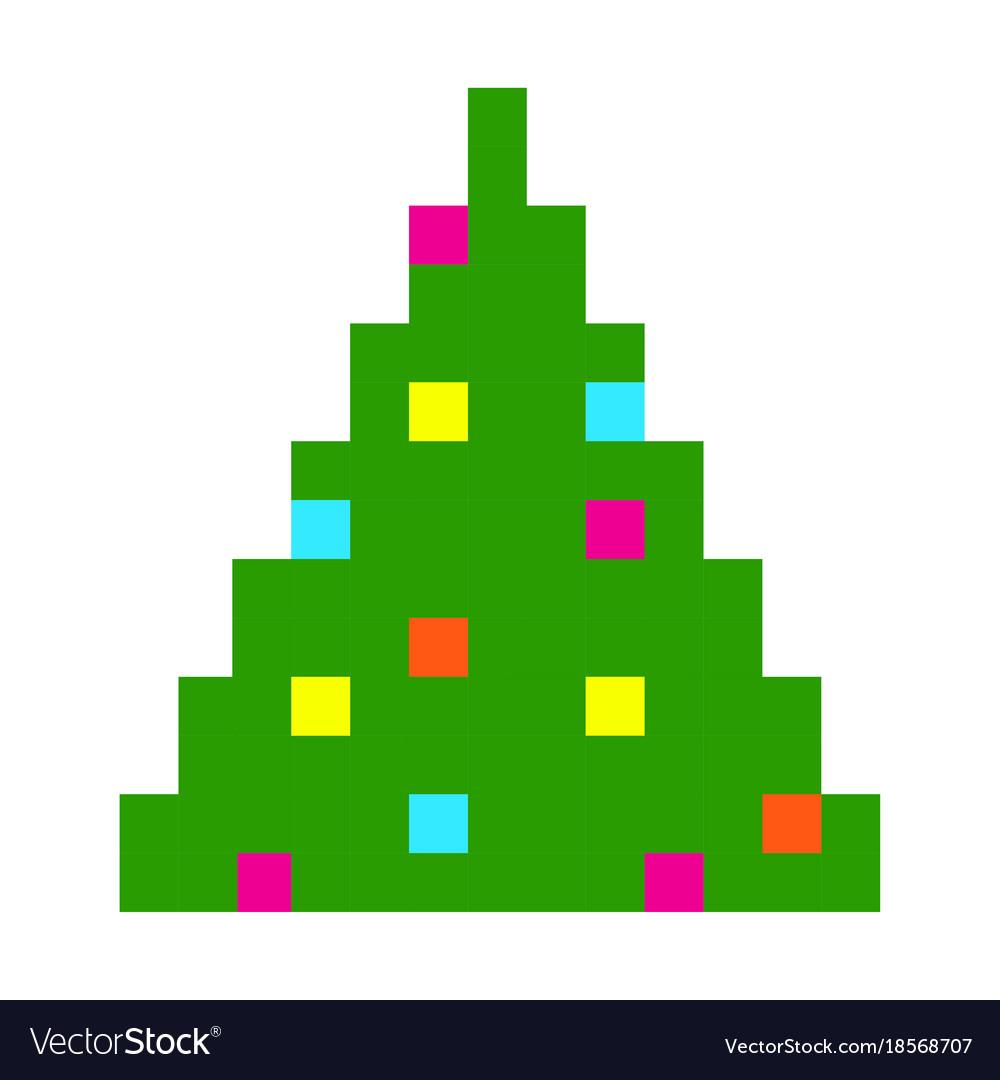 Christmas tree pixel art cartoon retro game style