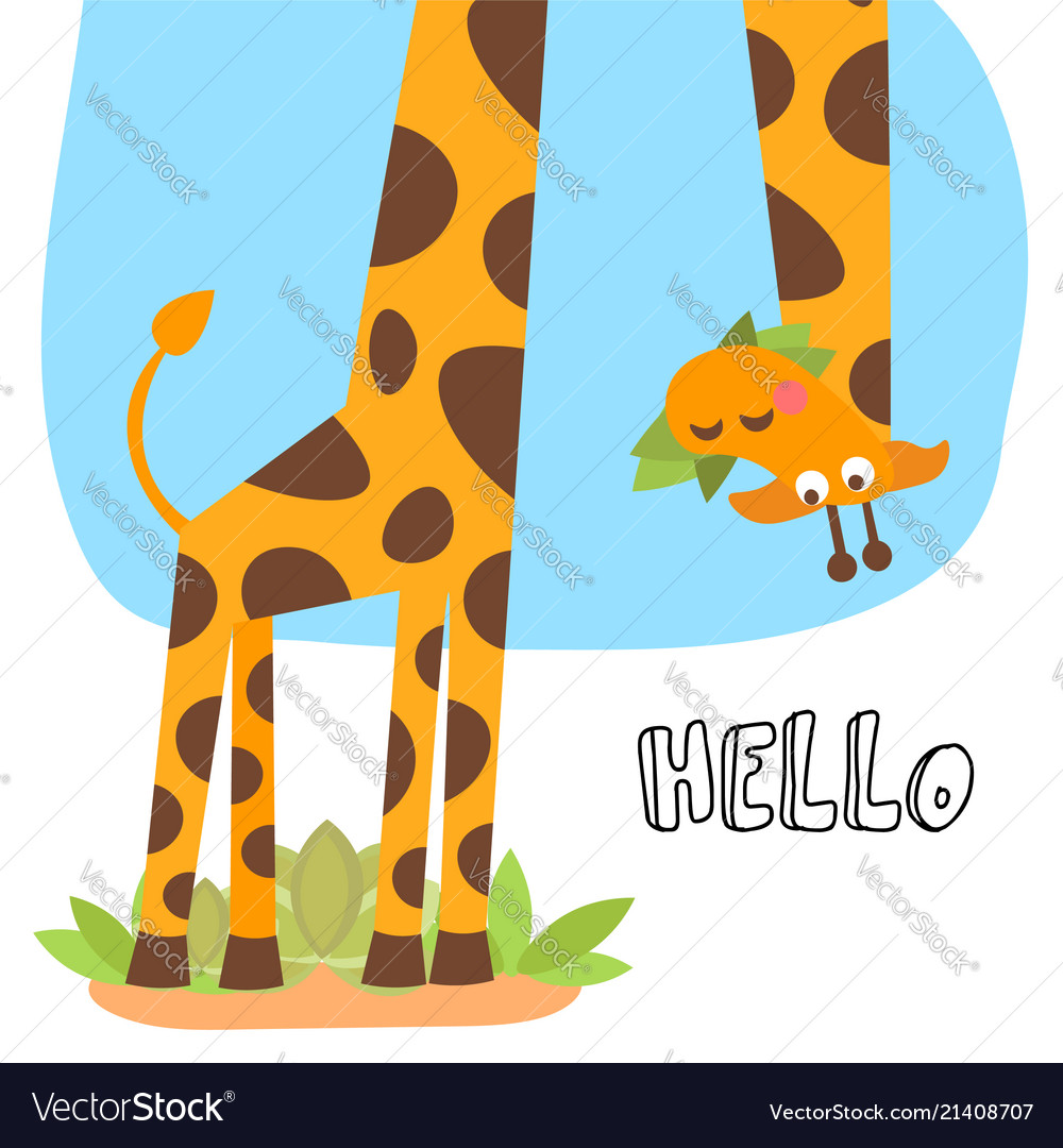 Cute cartoon trendy design little giraffe