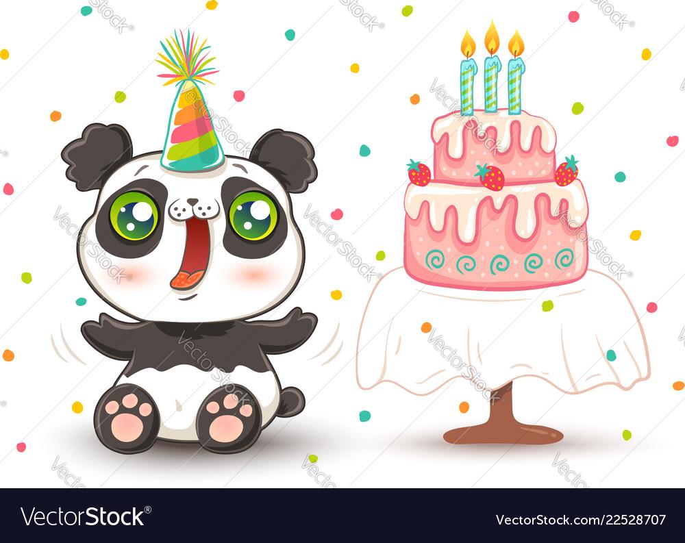 Cute panda in birthday hat