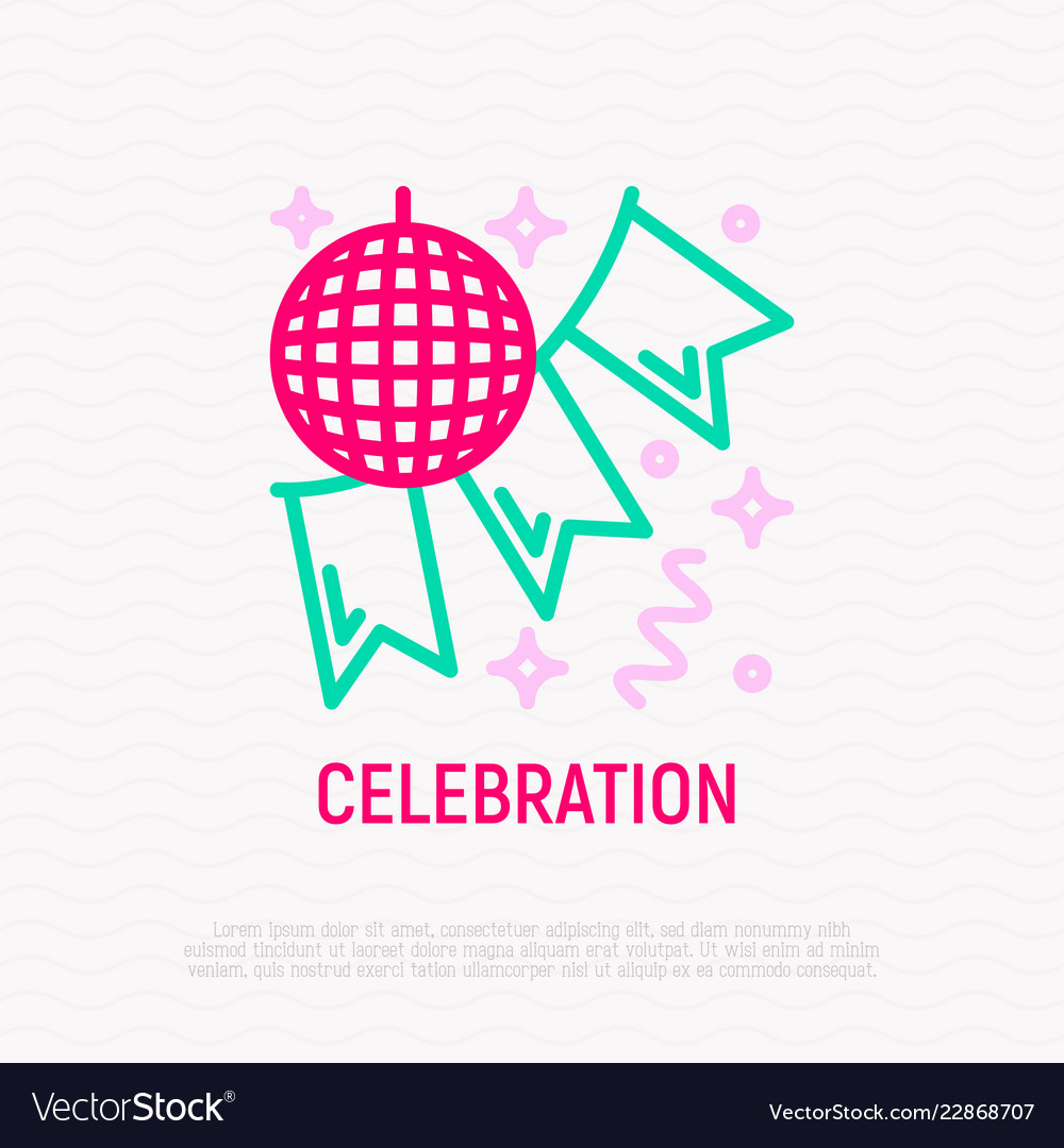 Disco ball and garland party decoration line icon
