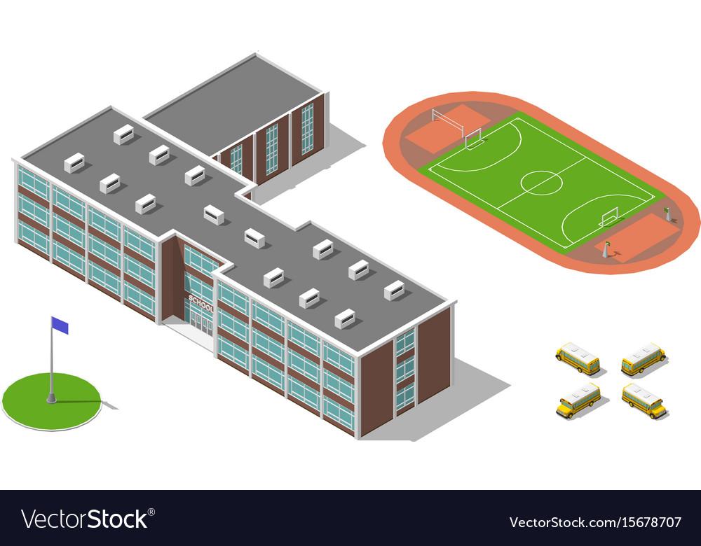 Flat 3d isometric school building bus stadium