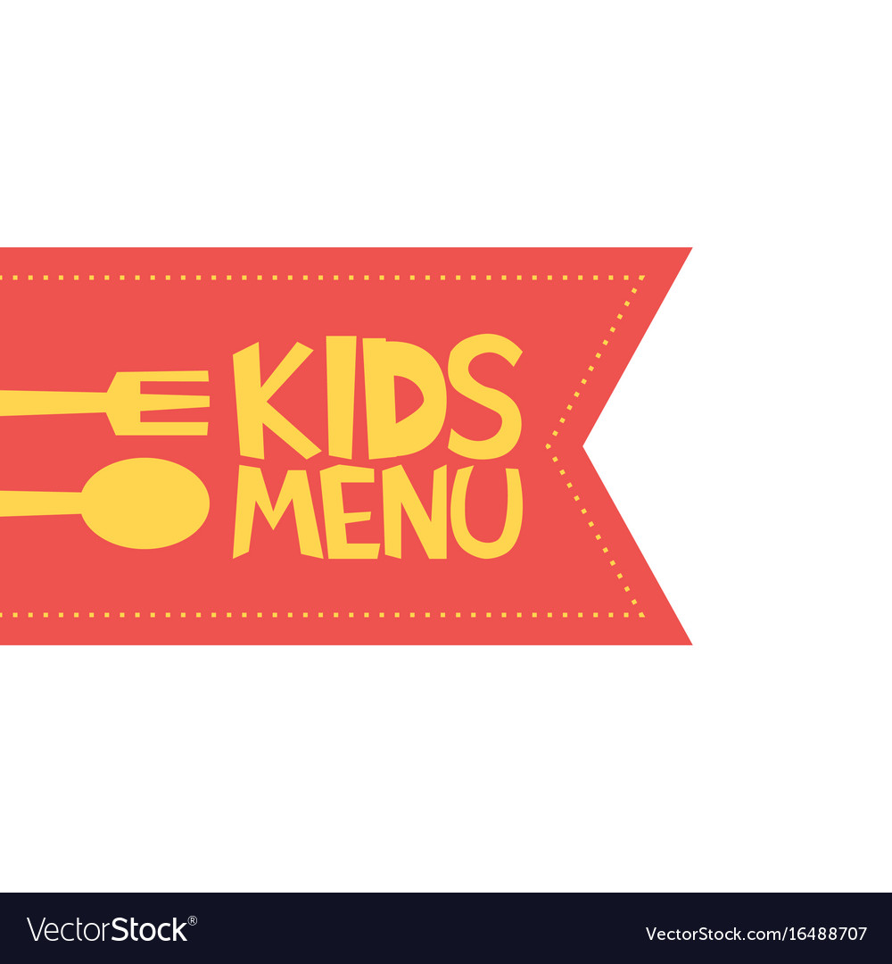 Kids menu red label template vector image