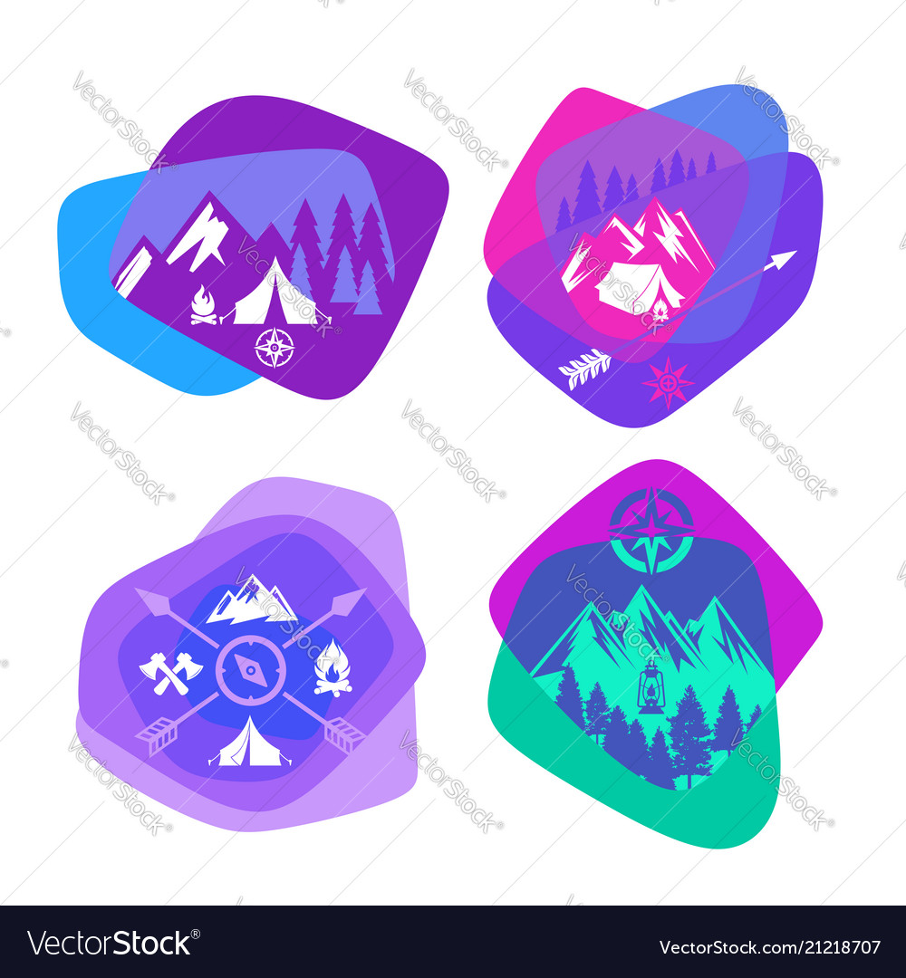 Set of bright colored logos for camping