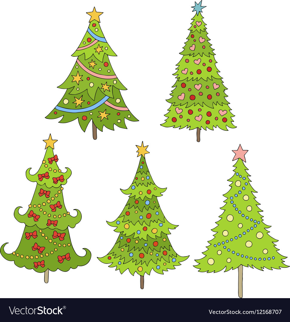 Set of doodle trees Festive