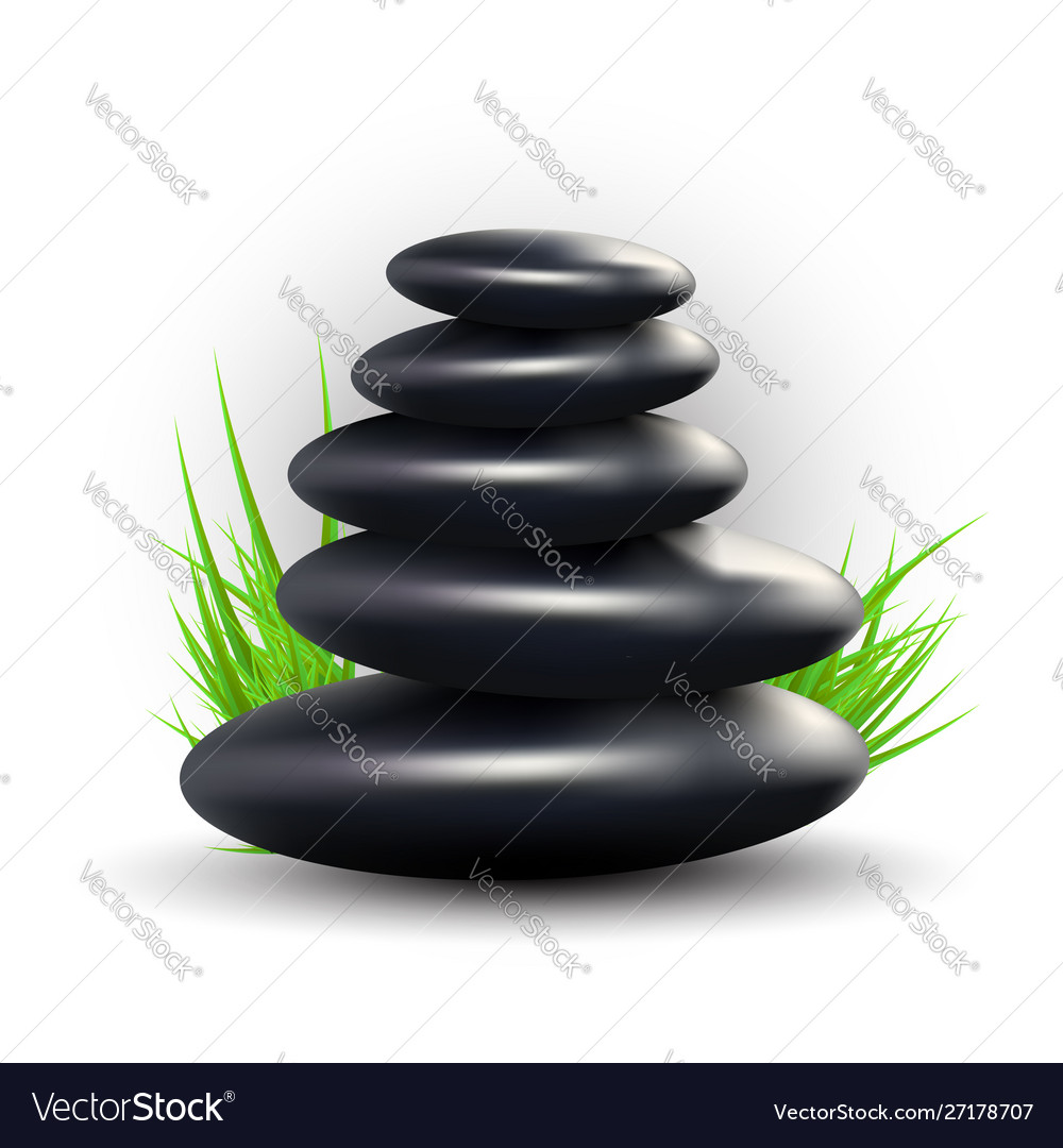 Spa Design With Zen Stones And Grass Royalty Free Vector