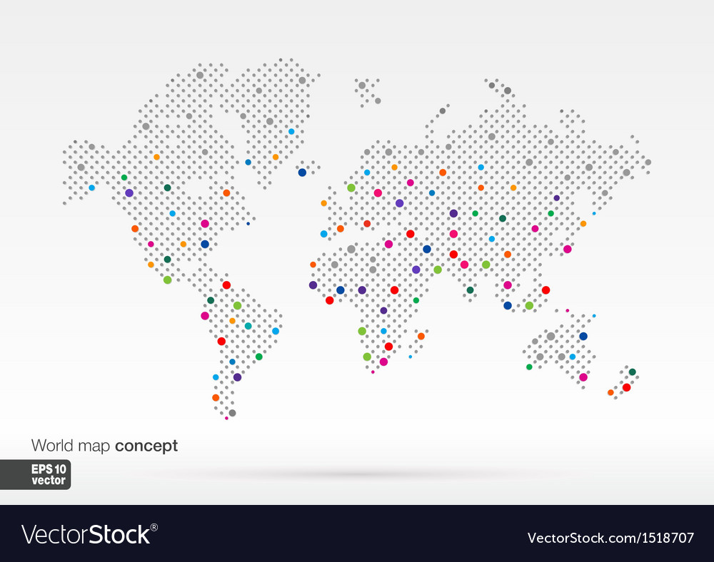 Stylized World Map concept with biggest cities Vector Image