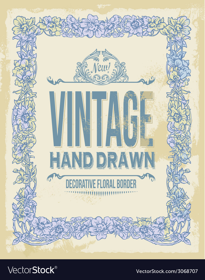 Vintage hand drawn floral decorative border