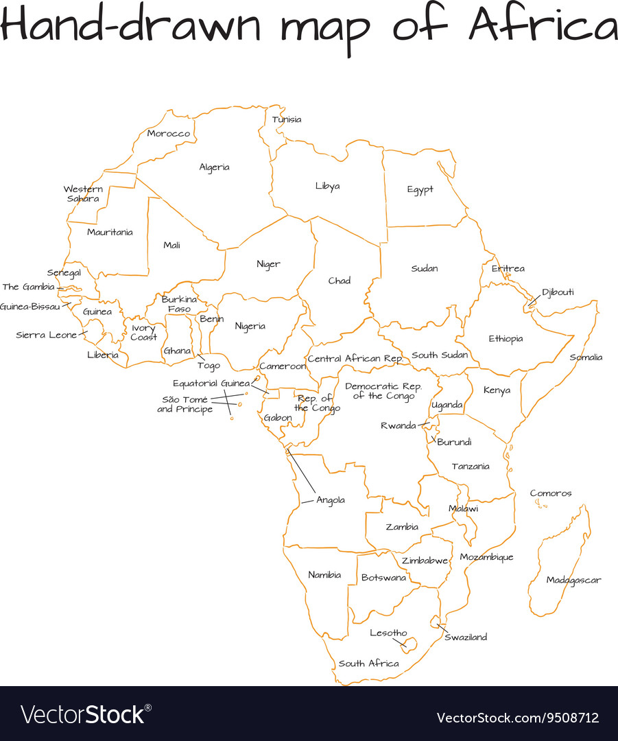 Africa hand drawn sketch map Royalty Free Vector Image