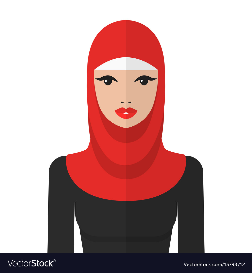Beautiful muslim woman in hijab flat icon