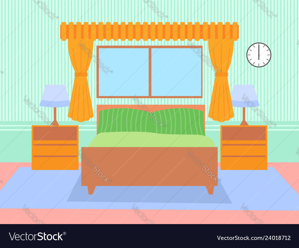 Bed room concept flat design icon objects on