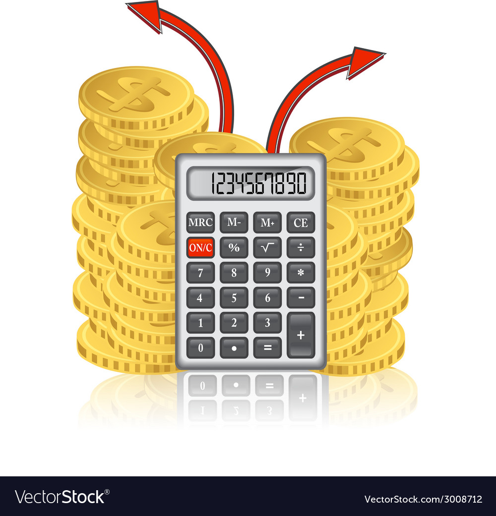 Calculator And A Stack Of Gold Coins Vector Image
