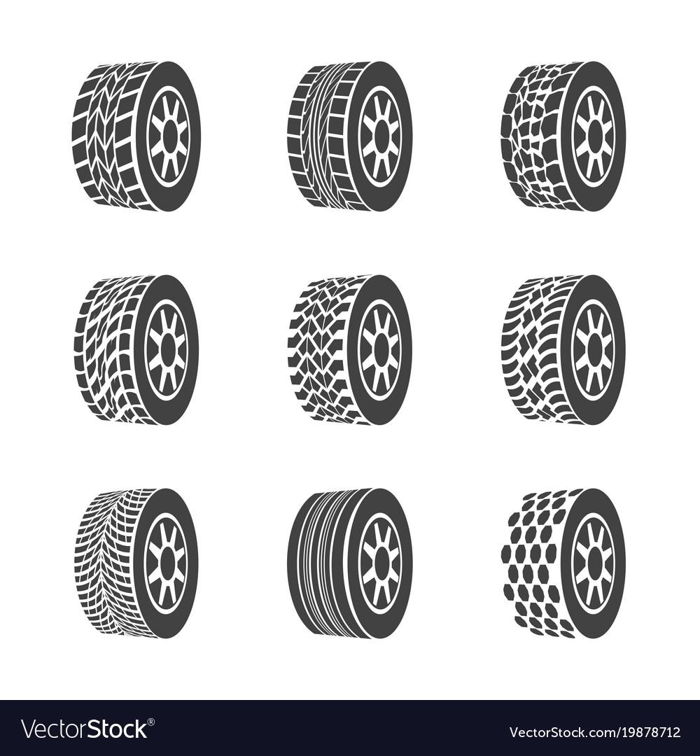 Cartoon silhouette black tire or wheel icon set