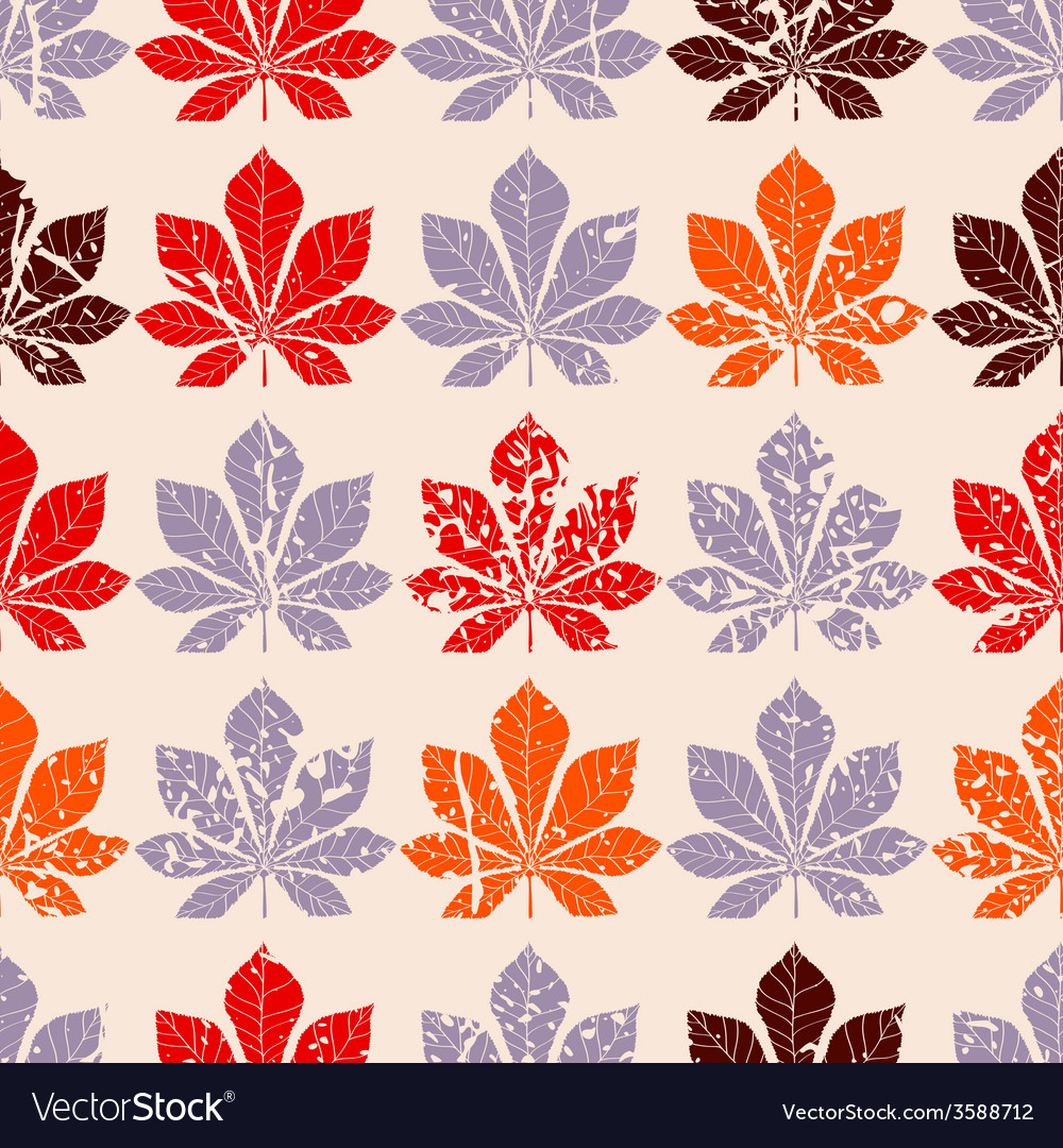 Decorative chestnut pink leaves - silhouette