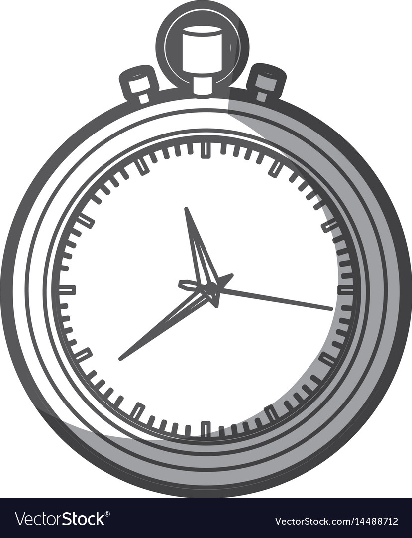 Grayscale silhouette of stopwatch with thick vector image