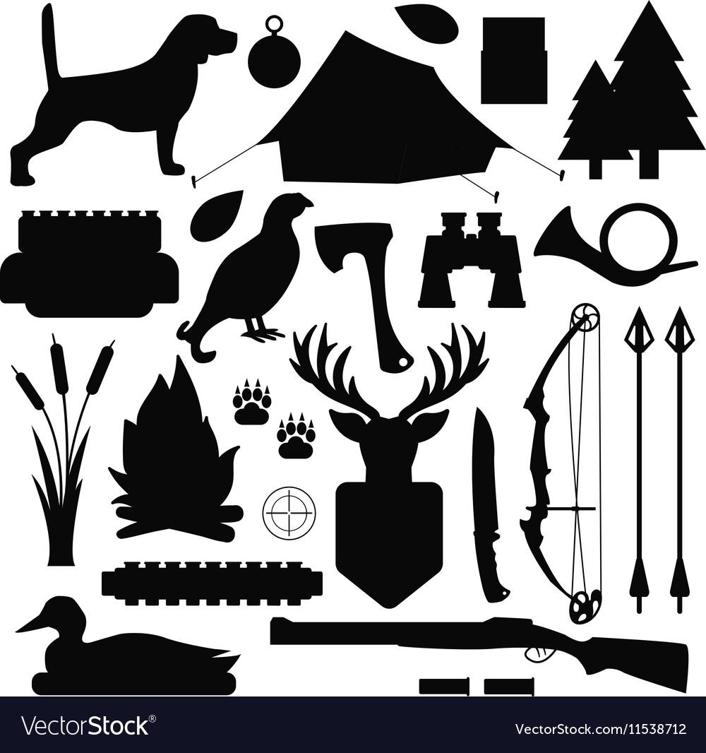 Hunting symbols set vector image