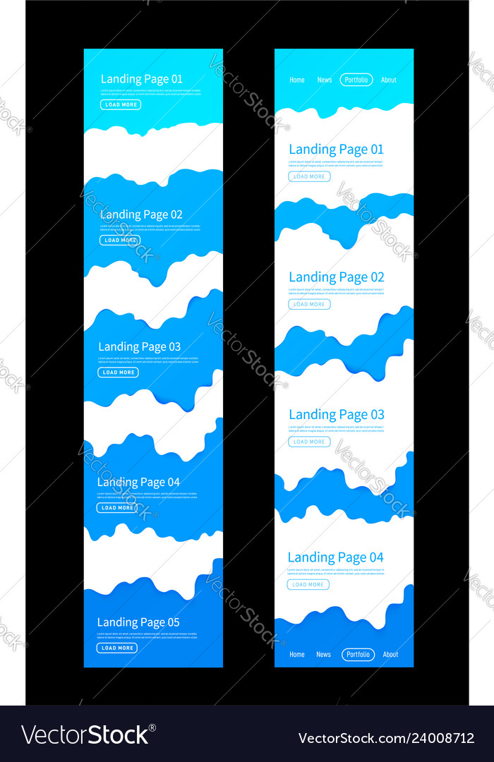 Landing page design template wave origami paper