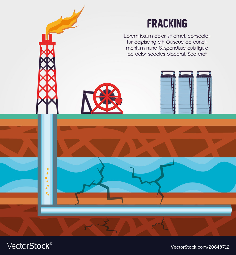 Oil Industry With Fracking Process Royalty Free Vector Image