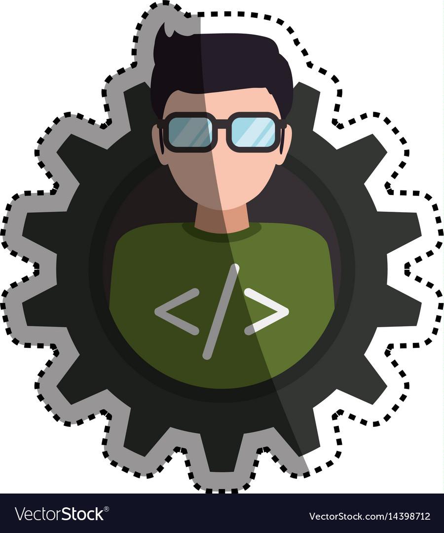 Programmer man faceless glasses