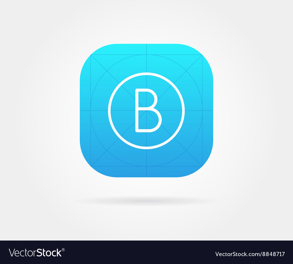 app icon template with guidelines fresh colour vector image