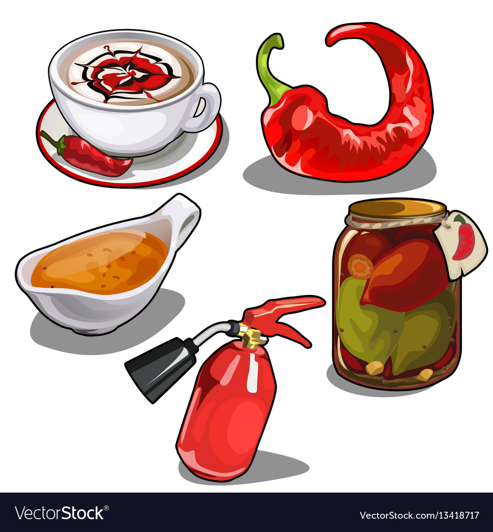 Chile pepper in different forms fire extinguisher