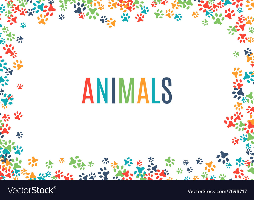 Colorful animal footprint ornament border isolated