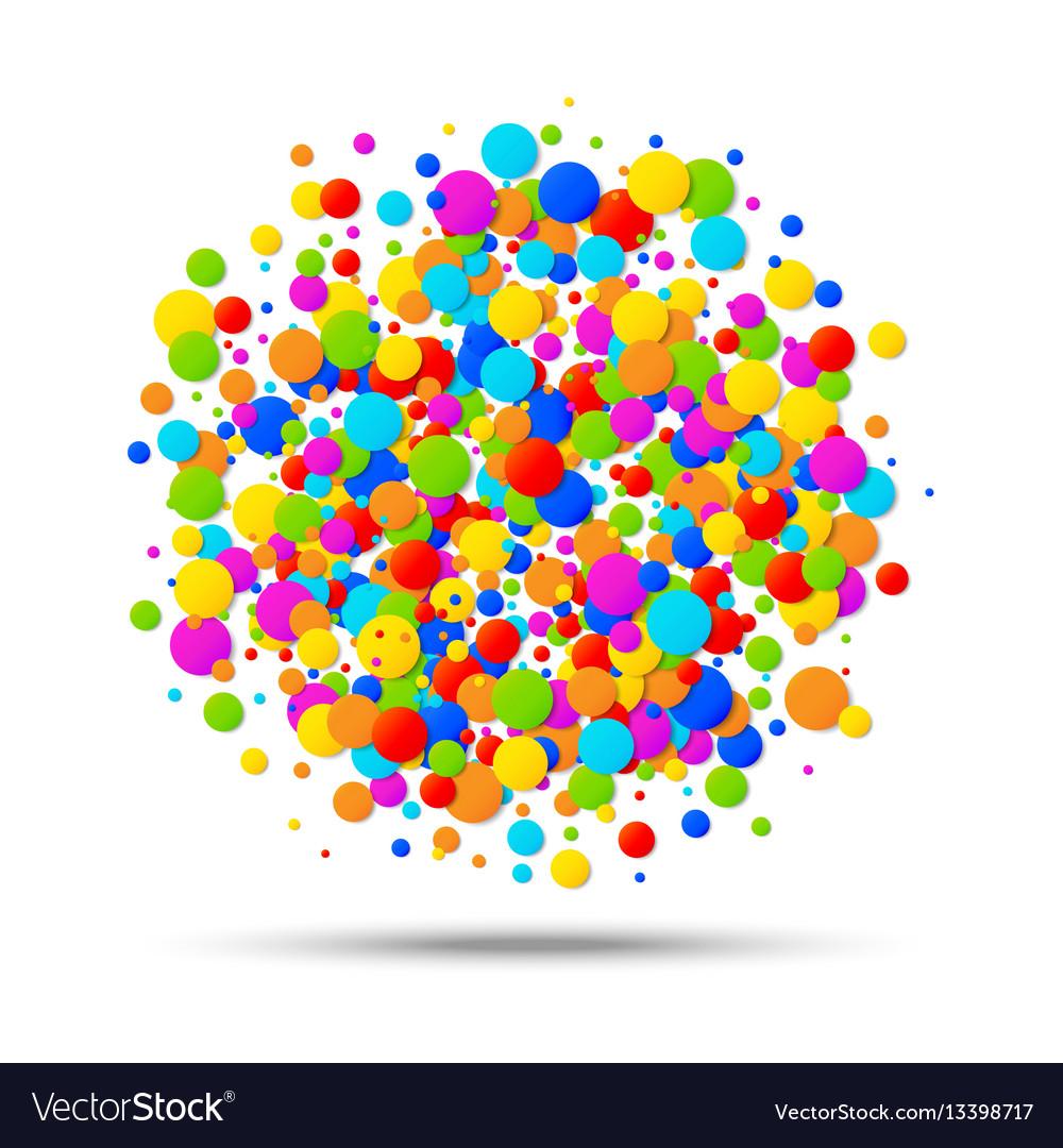 Colorful circle birthday confetti background