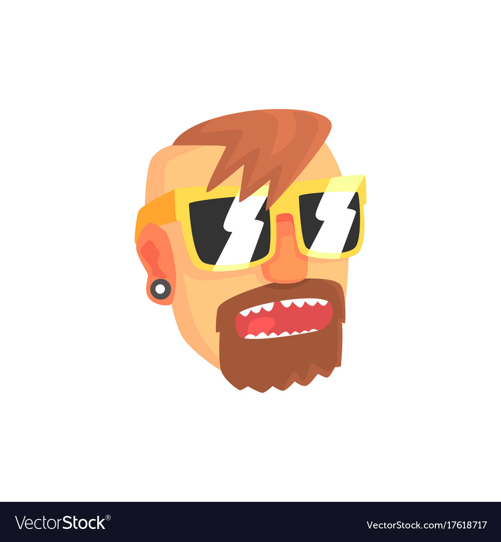 Hipster man face with sunglasses cartoon character