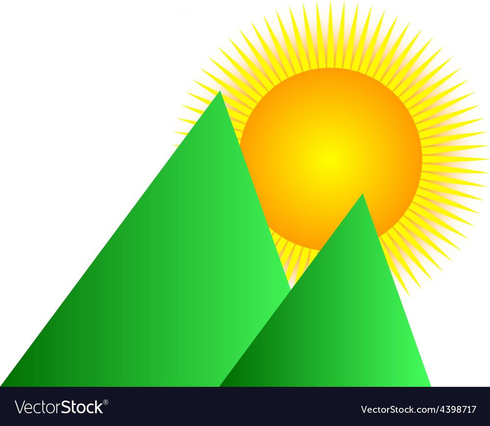 Mountain sunrise logo vector image