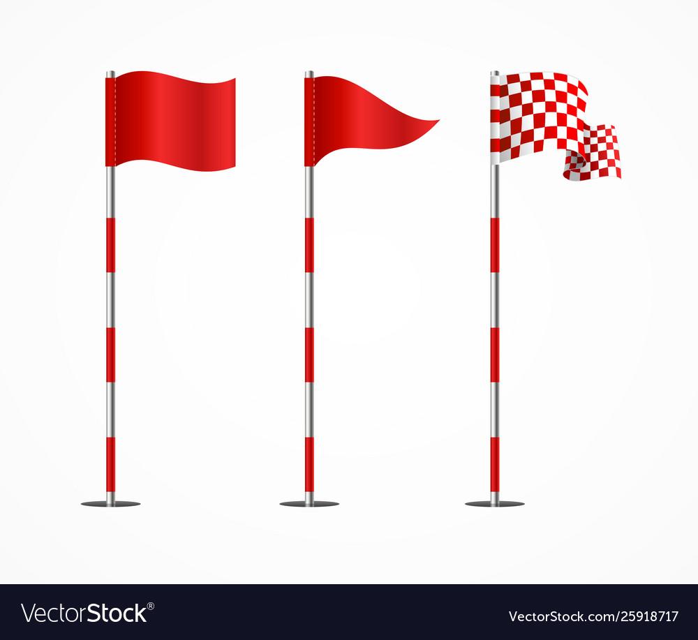 Realistic 3d detailed golf flag set