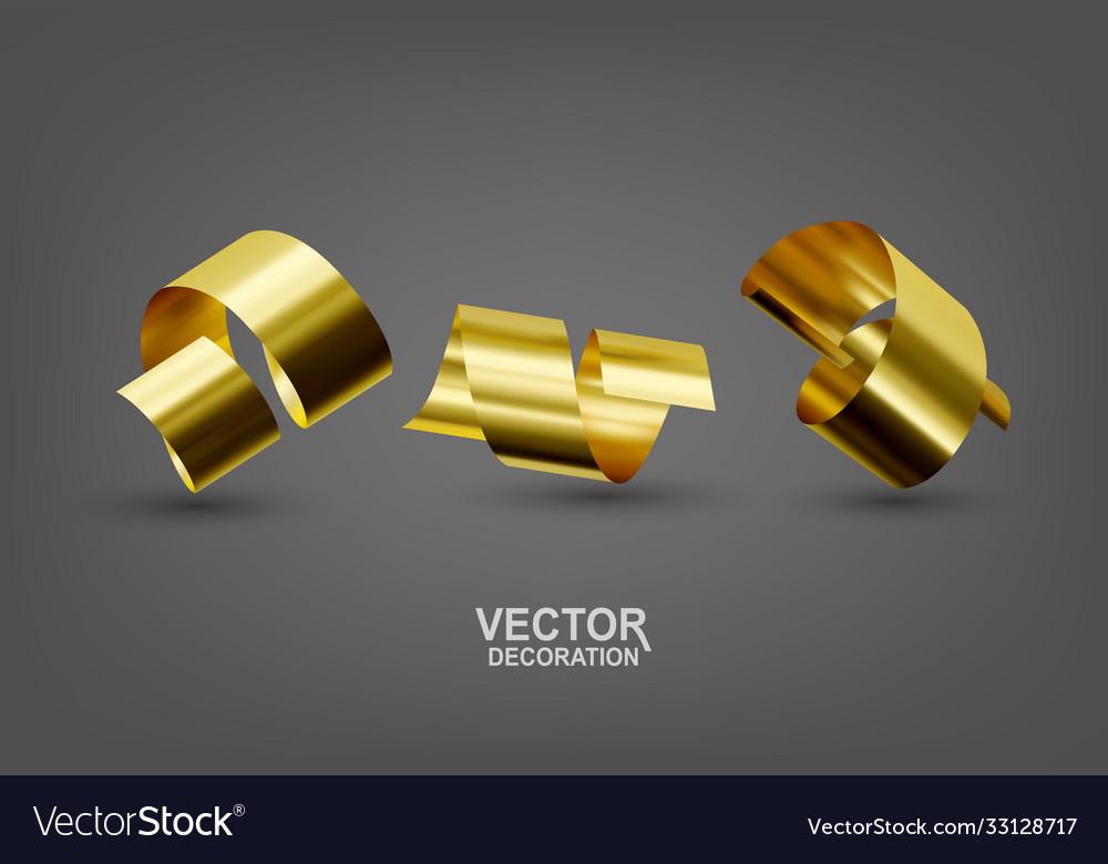 Realistic with three gold confetti