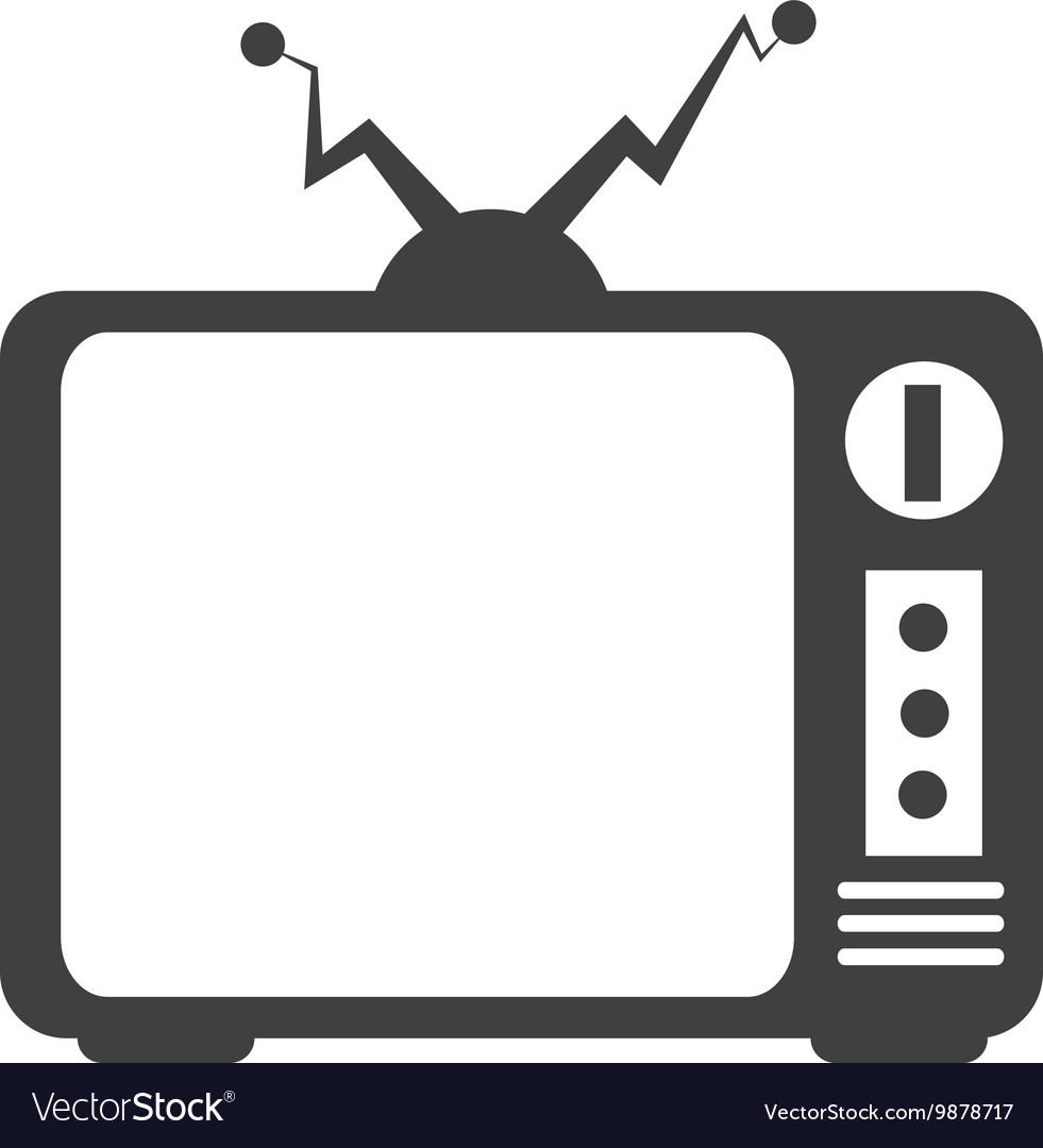 Retro tv icon in black and white colors