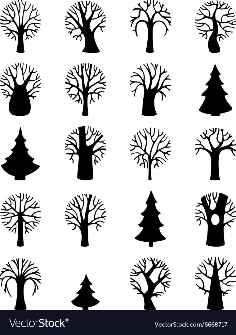 Set Of Tree Symbols Royalty Free Vector Image Vectorstock