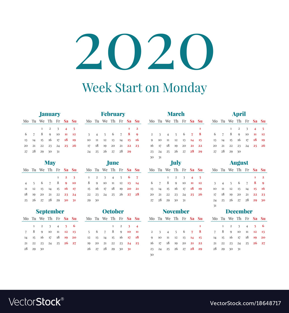 Calendar 2020 Year Simple 2020 year calendar Royalty Free Vector Image