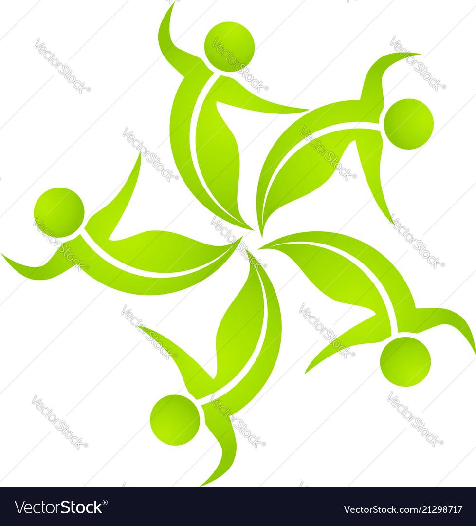Teamwork green dancing people logo