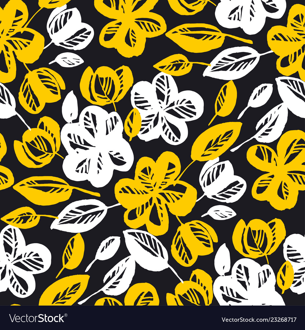 Yellow and black flowers repeatable motif