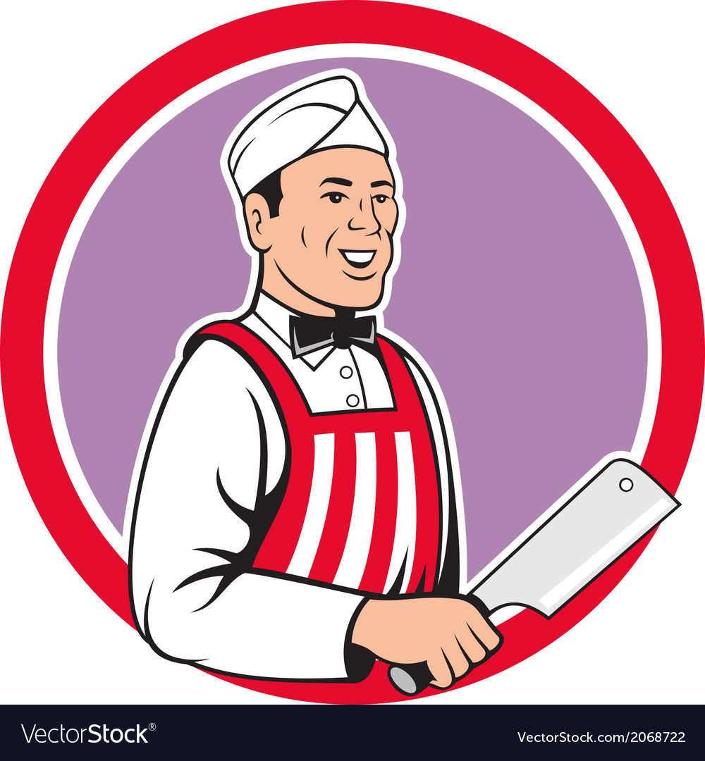 Butcher Holding Meat Cleaver Circle Cartoon vector image