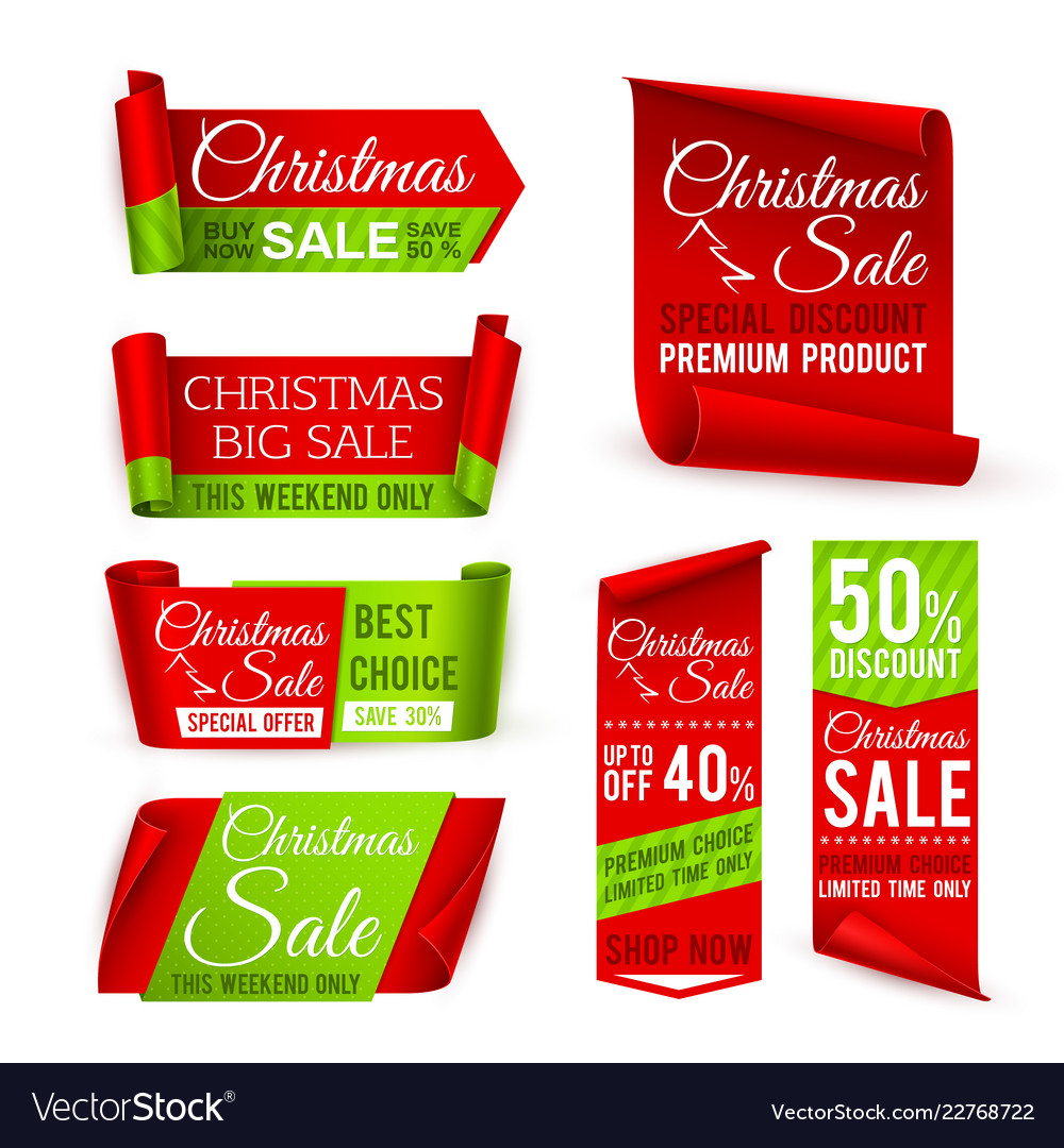 Christmas sale banners red silk ribbons