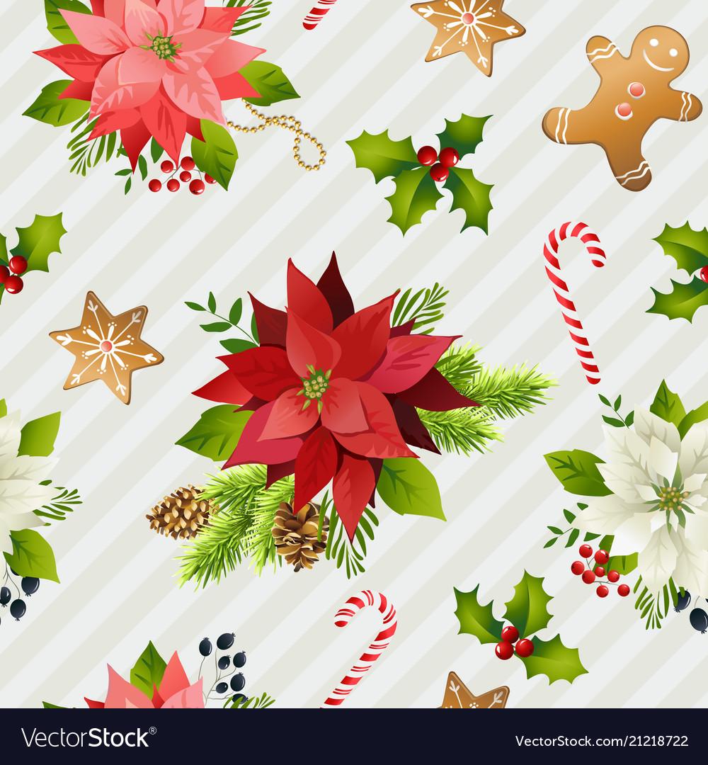 Christmas winter poinsettia flowers seamless