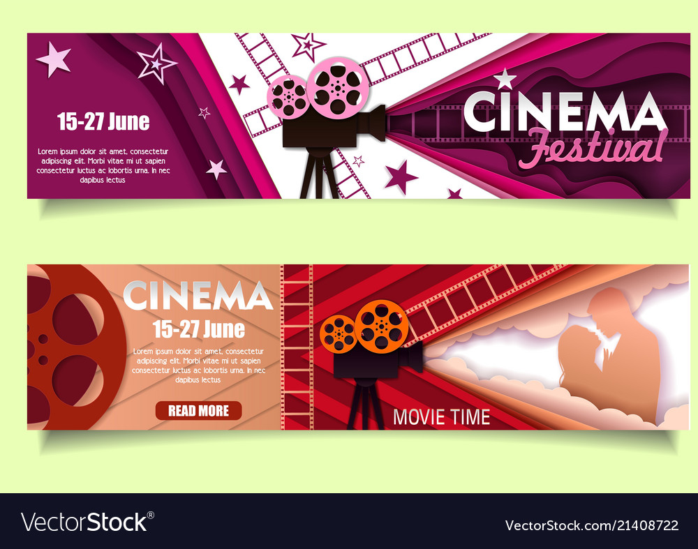 Cinema movie time paper cut banner template