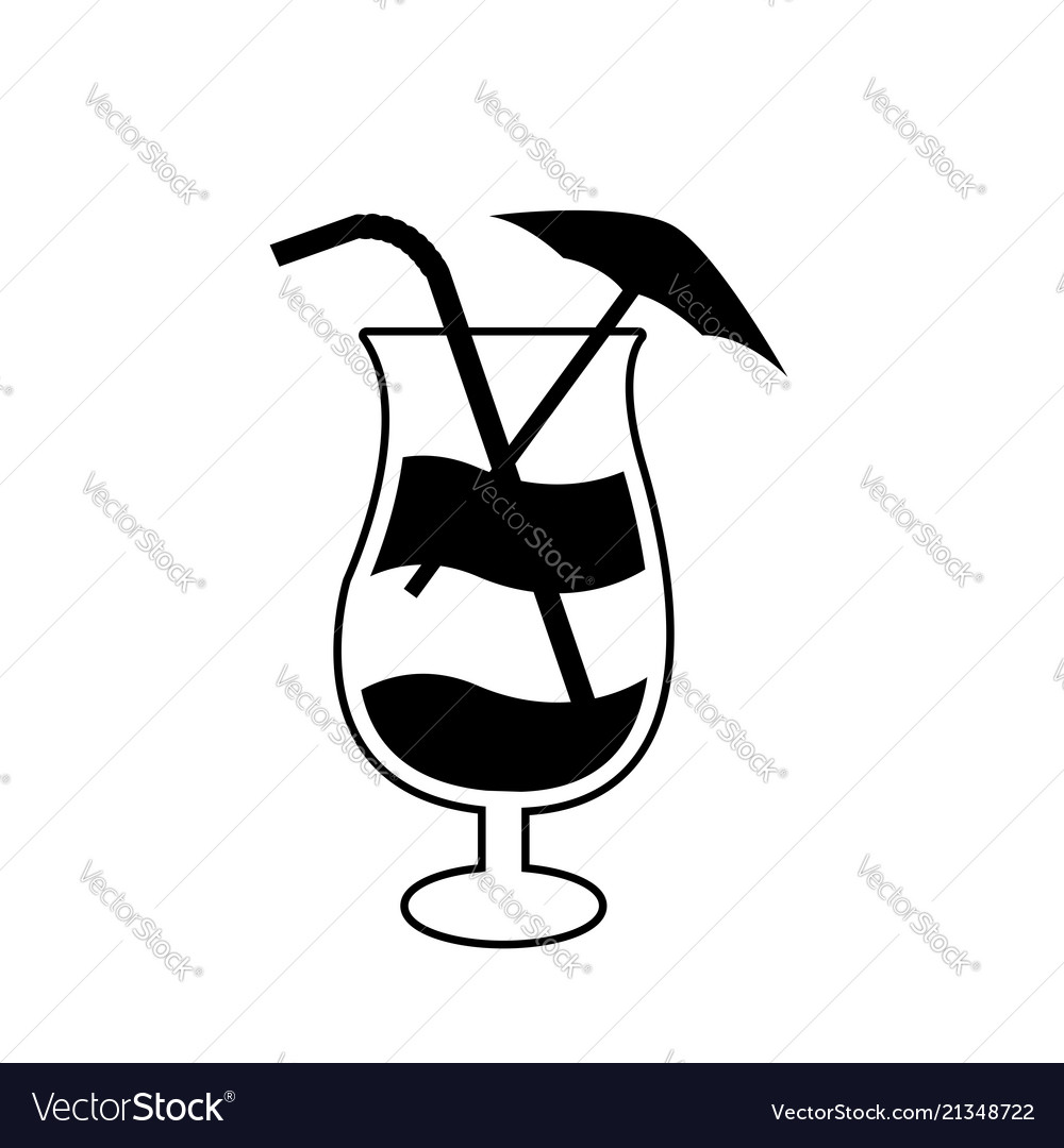 Cocktail glass with straw umbrella and lemon icon