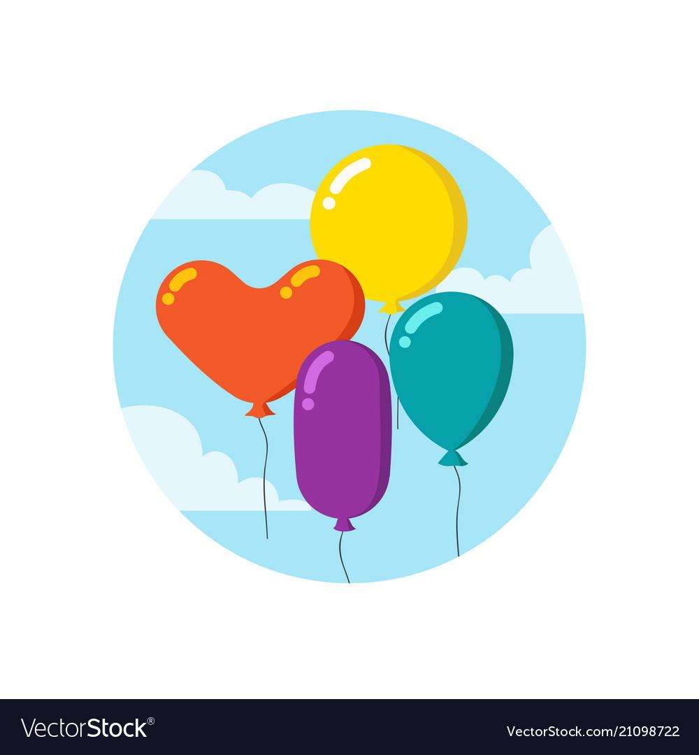 Colorful cartoon bunch of balloons happy birthday